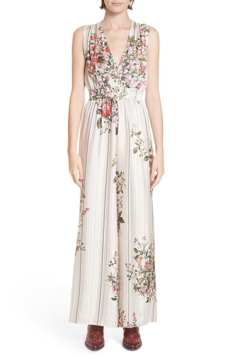ROSEANNA Frisco Floral & Stripe Silk Jumpsuit, Main, color, 900