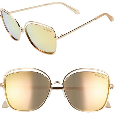 Lilly Pulitzer Nina 5m Cat Eye Sunglasses - Shiny Gold/ Gold Mirror