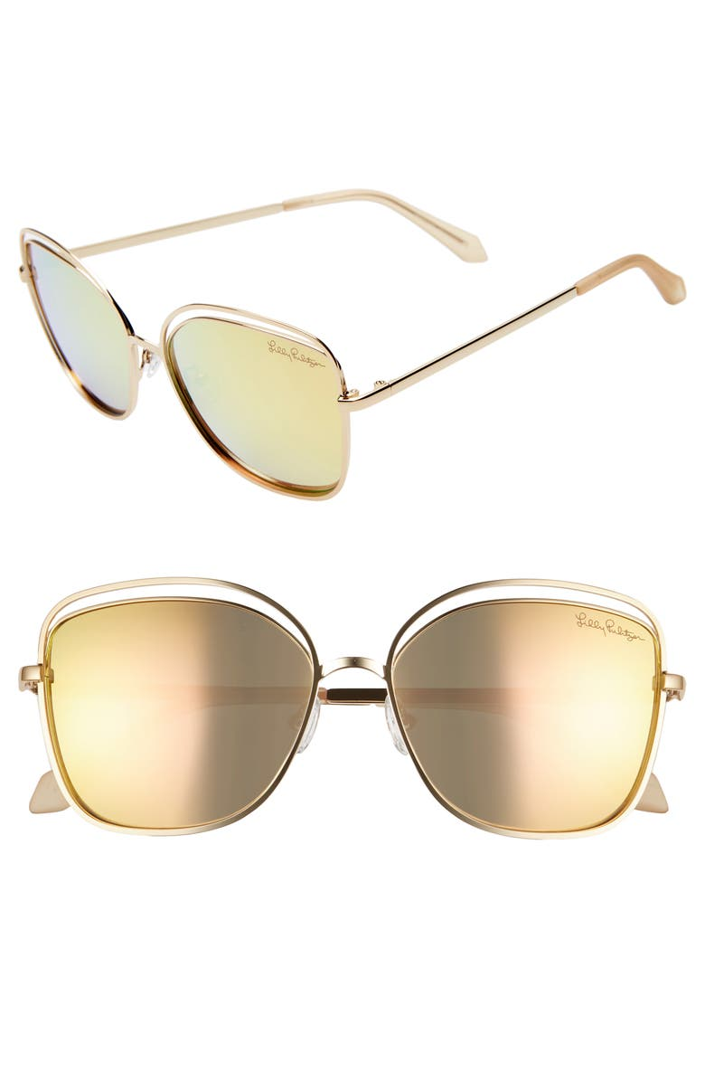 LILLY PULITZER<SUP>®</SUP> Nina 56mm Cat Eye Sunglasses, Main, color, SHINY GOLD/ GOLD MIRROR