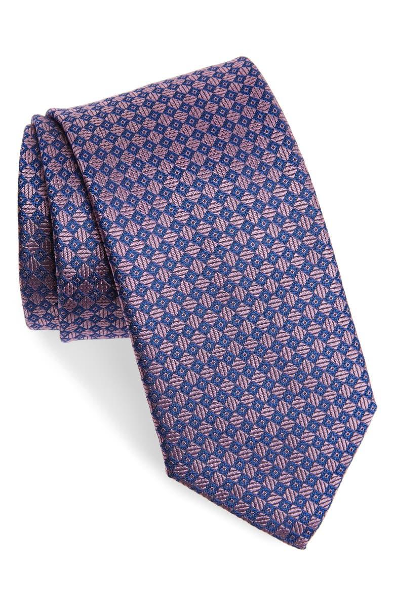 CANALI Geometric Silk Tie, Main, color, PINK