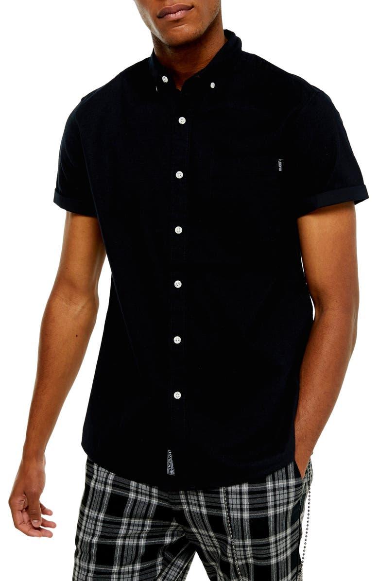 TOPMAN Slim Fit Solid Short Sleeve Button-Down Shirt, Main, color, BLACK