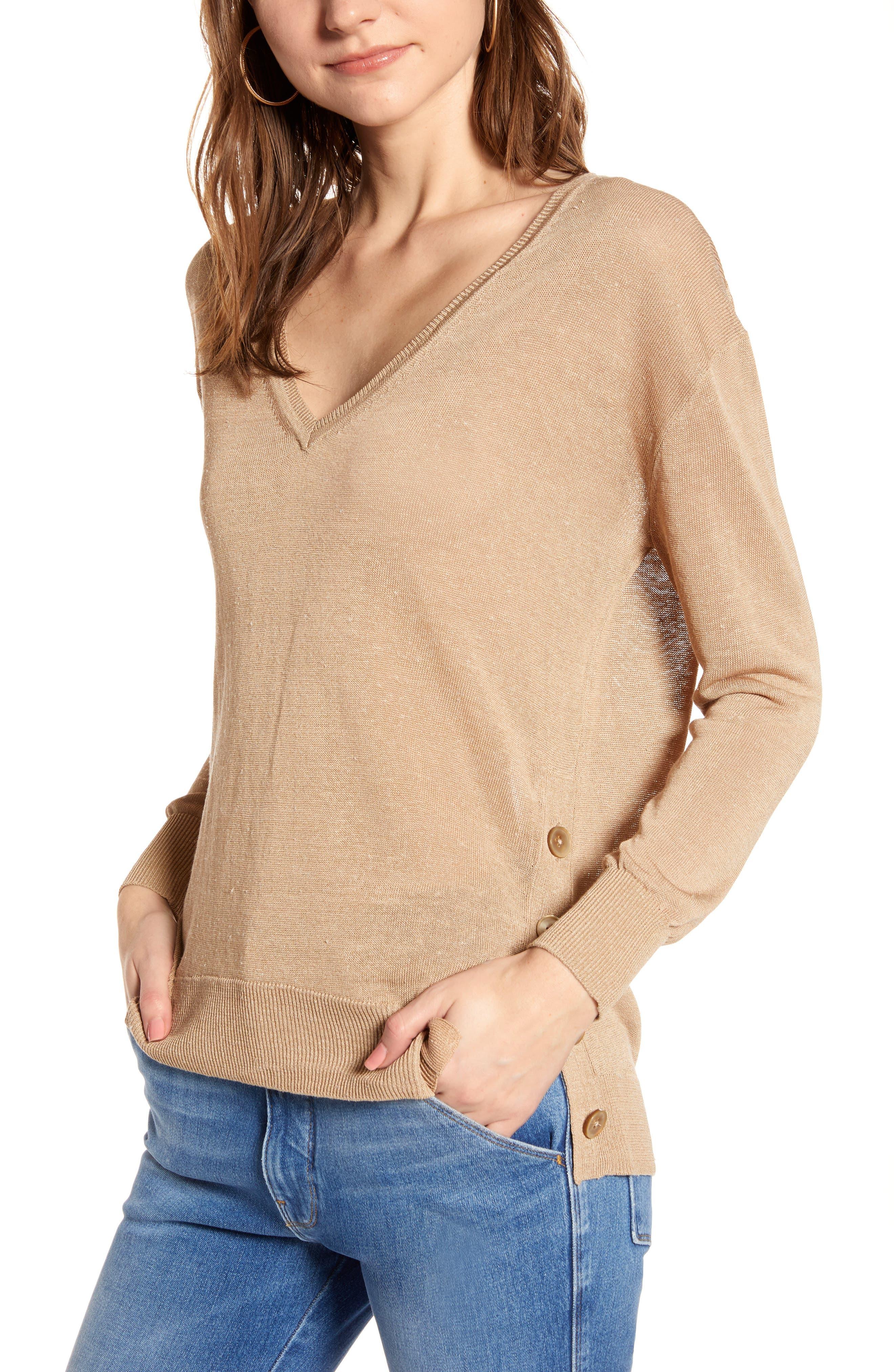 J.crew Side Button Linen Blend V-Neck Sweater, Beige