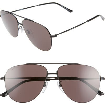 Balenciaga 5m Aviator Sunglasses - Semi-Matte Black/ Grey