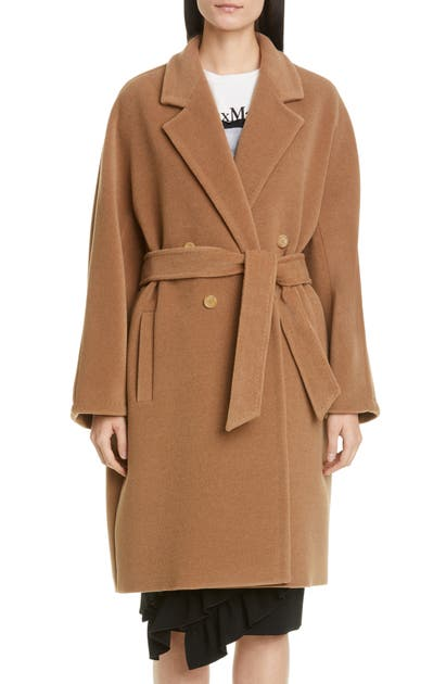 Max Mara BAIOCCO DOUBLE BREASTED CAMEL HAIR & WOOL COAT