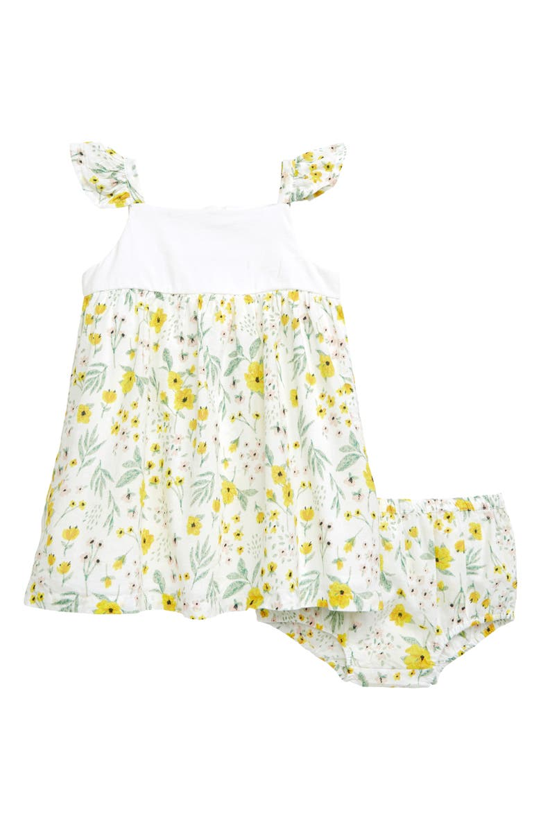 NORDSTROM BABY Floral Flutter Dress, Main, color, WHITE- YELLOW BABY BLOSSOMS