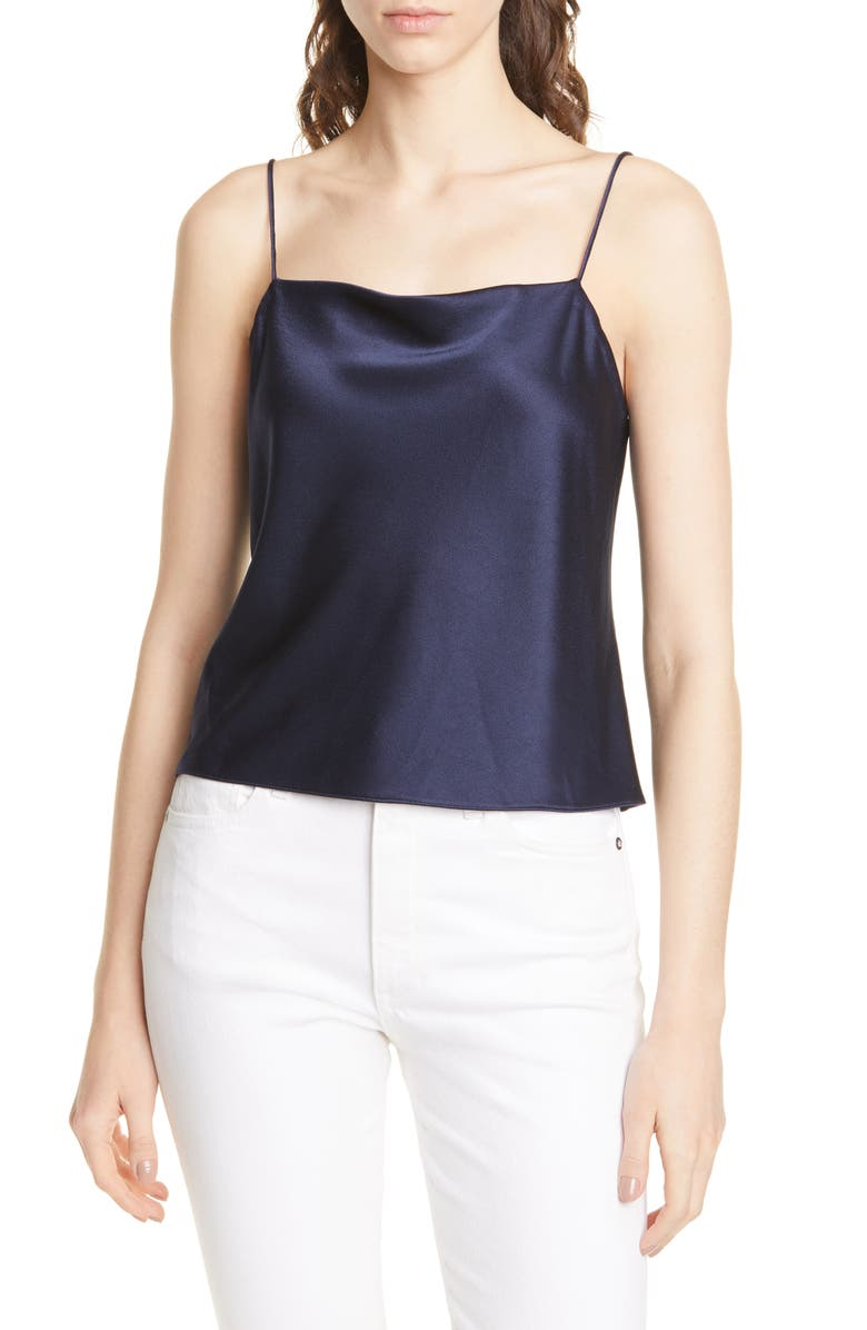 ALICE + OLIVIA Harmon Drapey Camisole, Main, color, NAVY