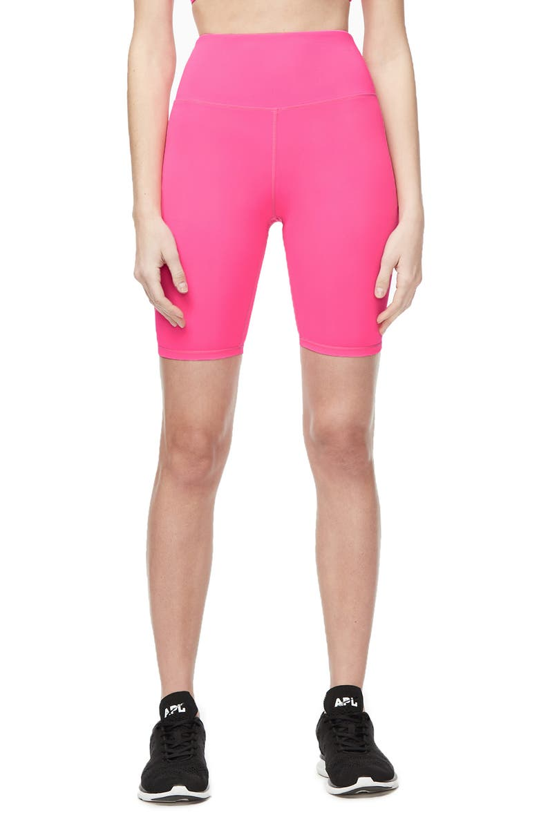 GOOD AMERICAN Neon High Waist Bike Shorts, Main, color, 650