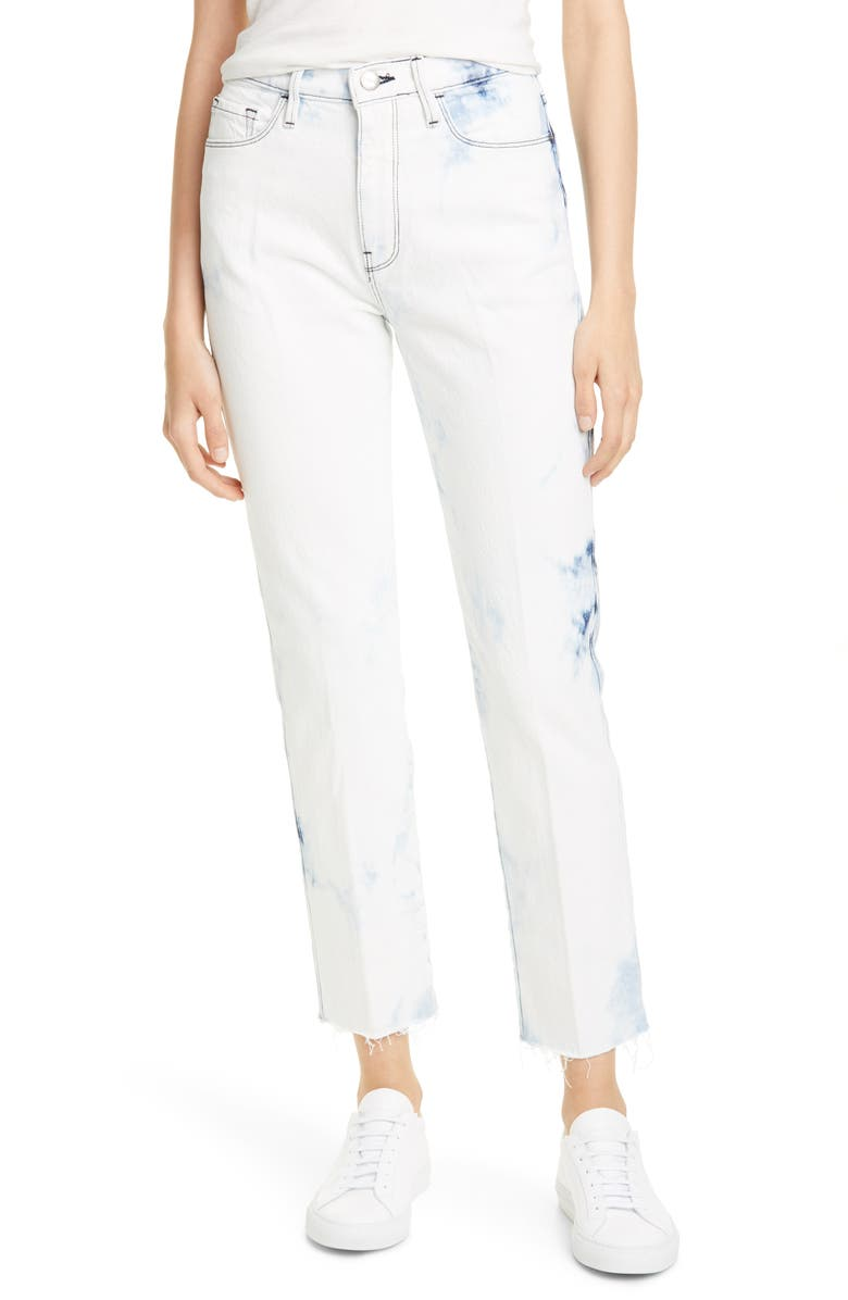 FRAME Le Sylvie High Waist Ankle Raw Hem Straight Leg Jeans, Main, color, SIGHTGLASS