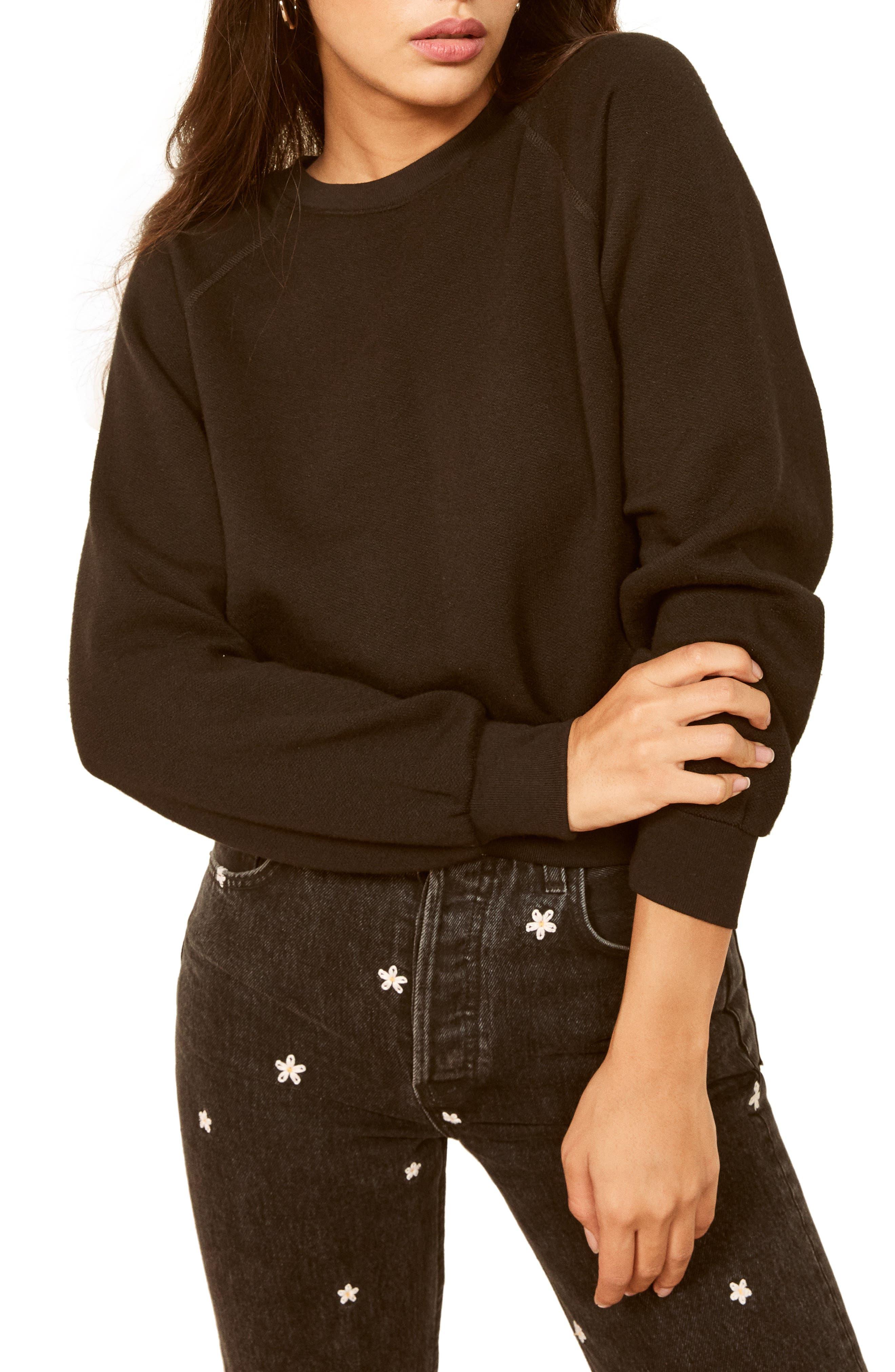 Reformation Rio Sweatshirt, Black