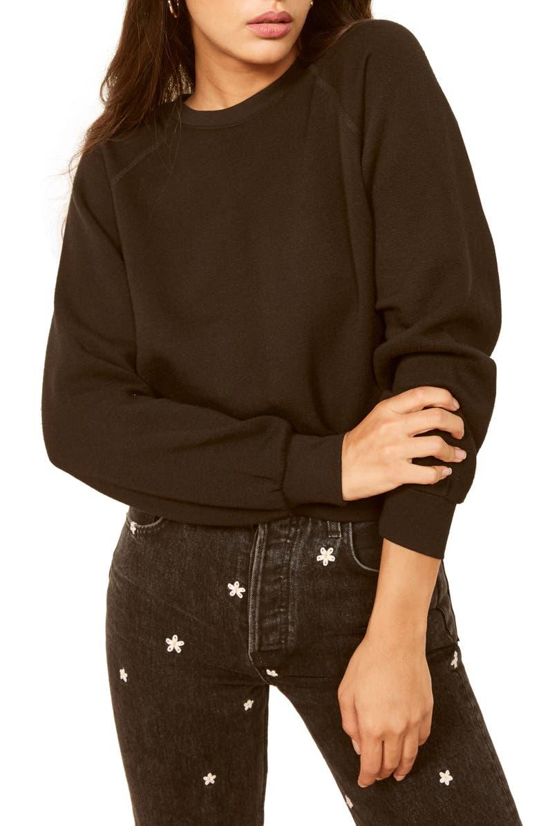REFORMATION Rio Sweatshirt, Main, color, BLACK
