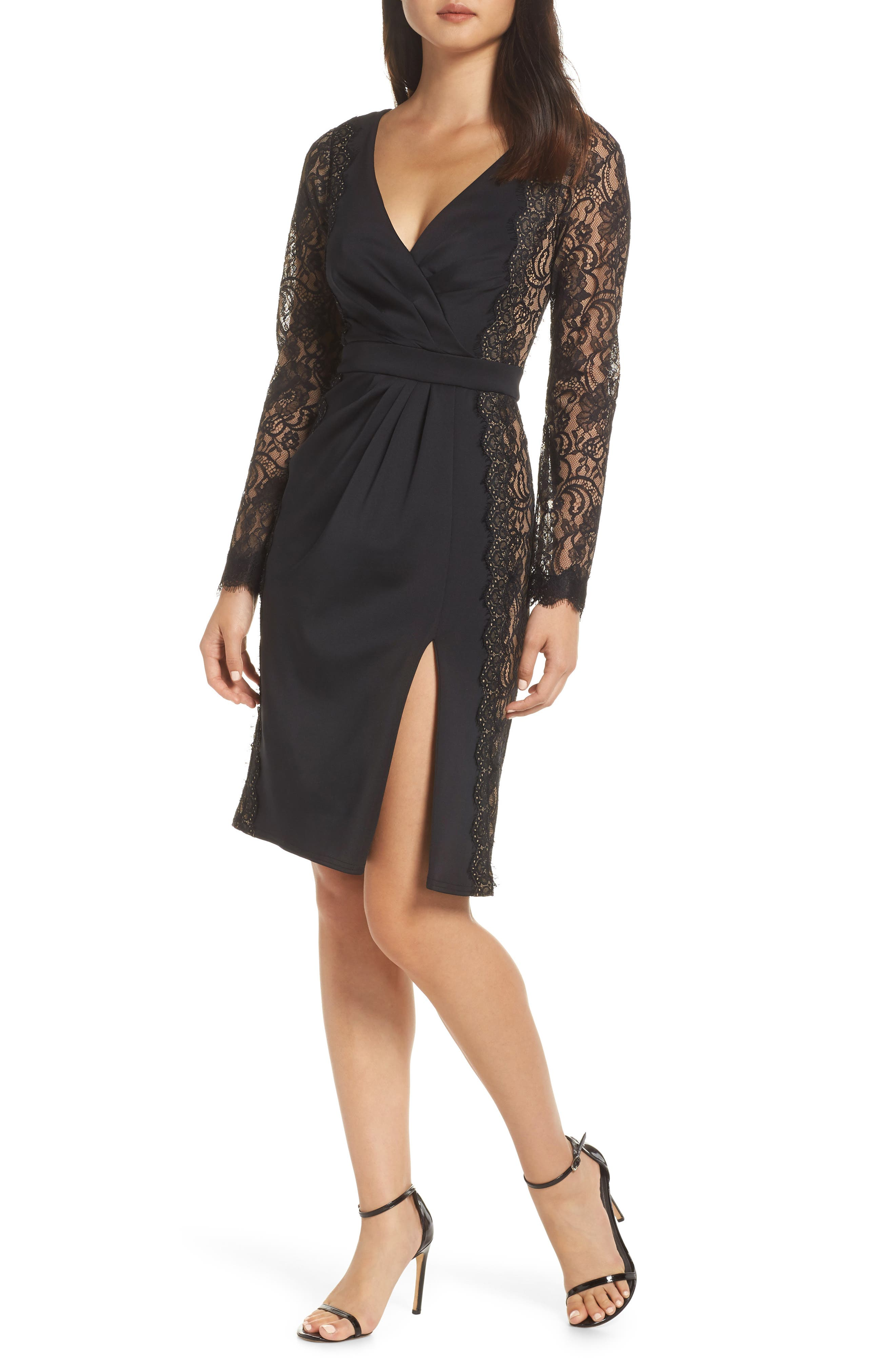 Long Sleeve Neoprene & Lace Cocktail Dress, Main, color, 001
