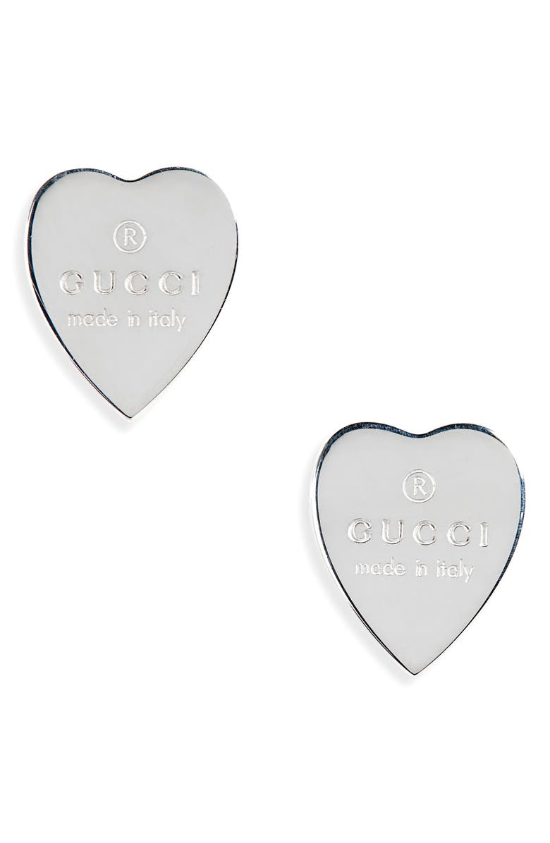 GUCCI Trademark Heart Stud Earrings, Main, color, 040