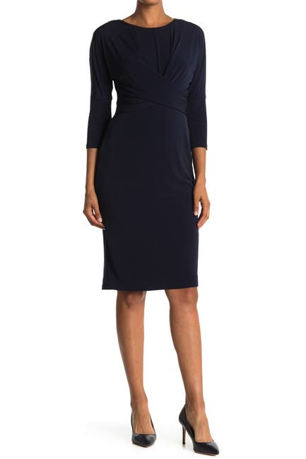 Image of London Times Twist Front 3/4 Sleeve Sheath Dress