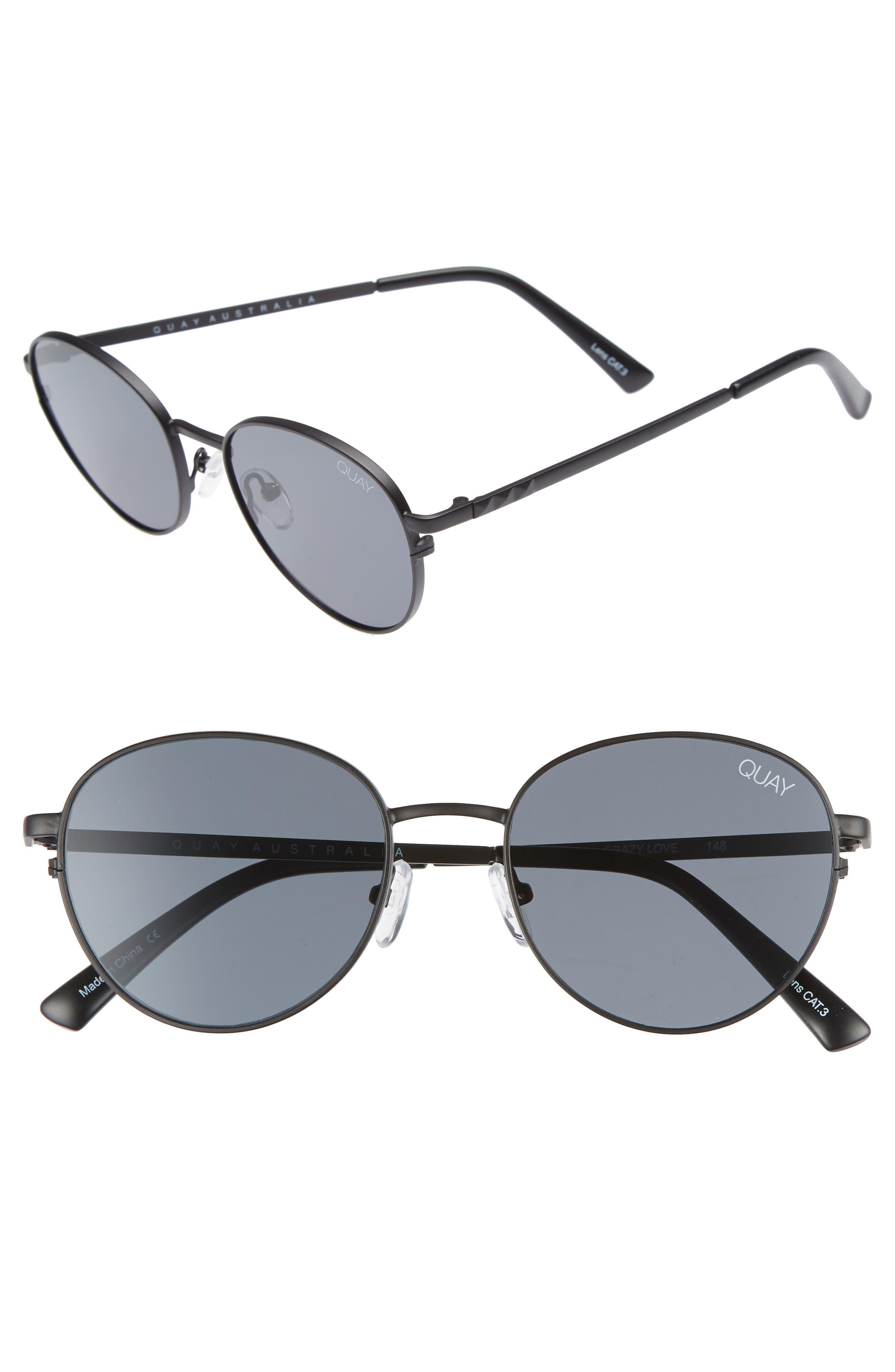 Quay Australia Crazy Love 45Mm Round Sunglasses - Black/ Smoke