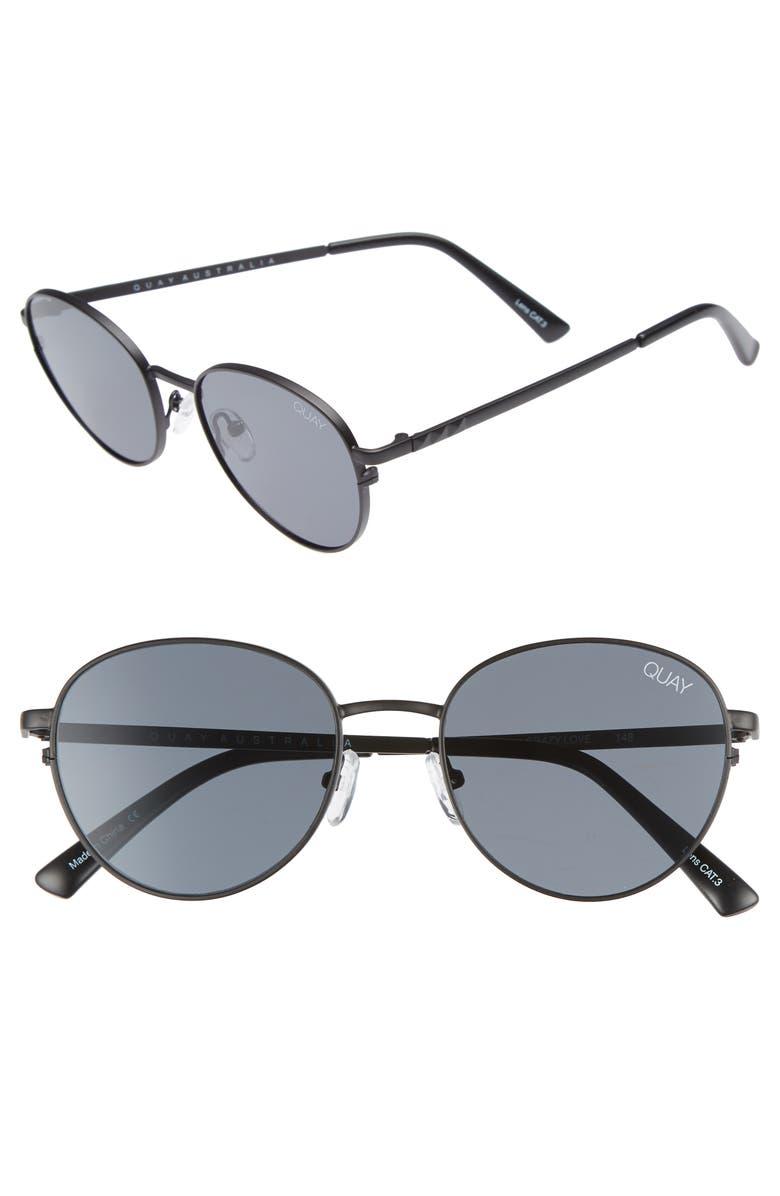 QUAY AUSTRALIA Crazy Love 45mm Round Sunglasses, Main, color, 001