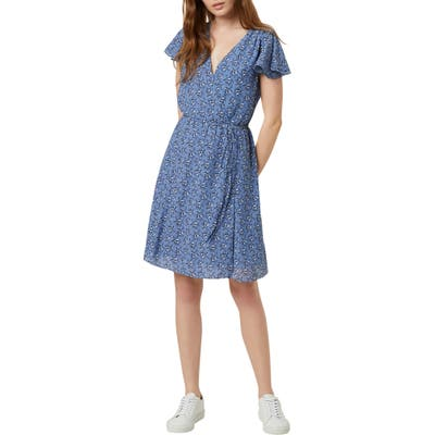 French Connection Agata Floral Faux Wrap Dress, Blue