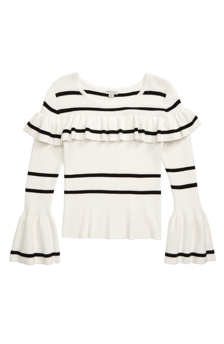 HABITUAL Nayla Stripe Ruffle Sweater, Main, color, OFF-WHITE