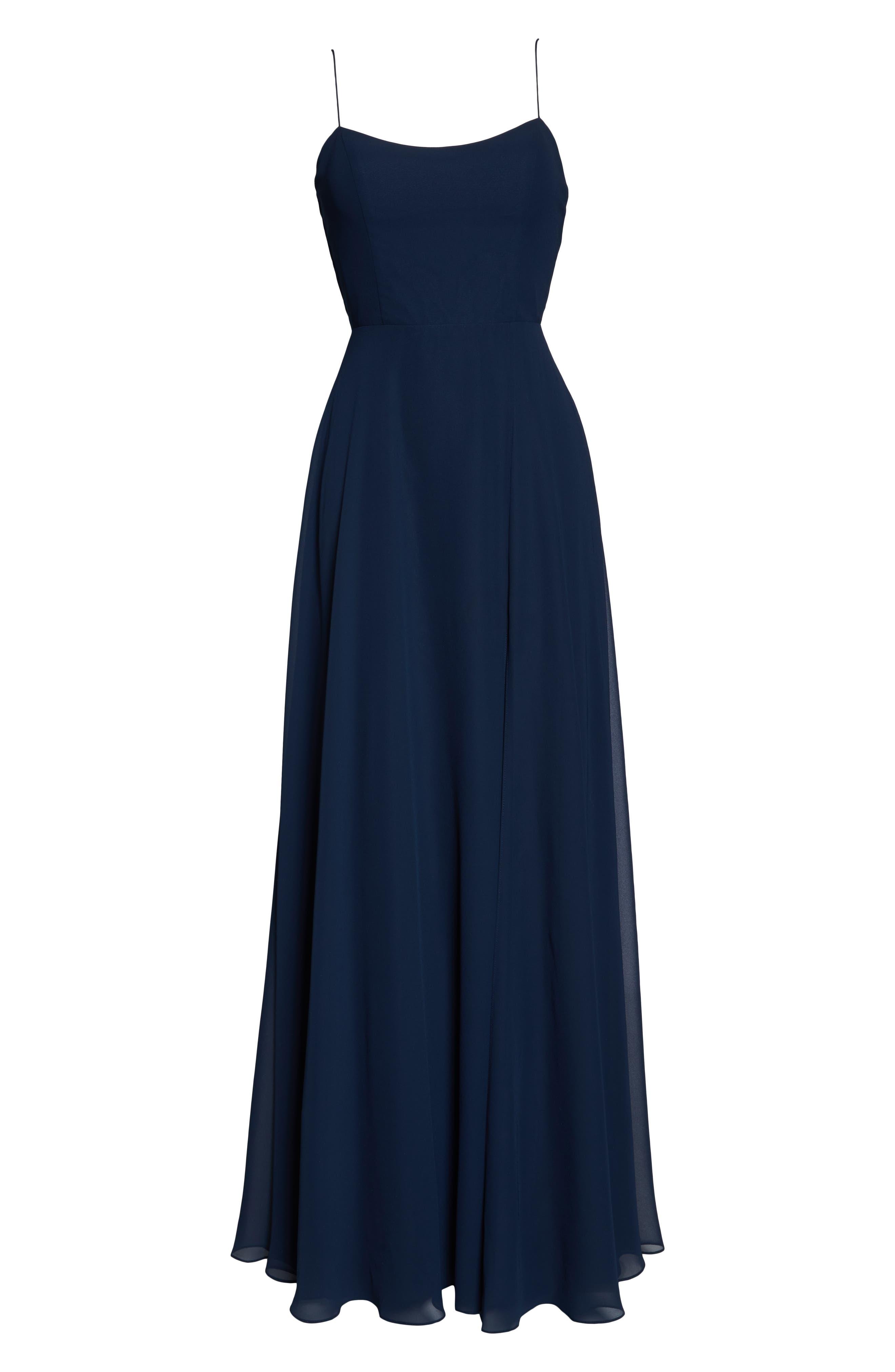 ,                             Kiara Bow Back Chiffon Evening Dress,                             Alternate thumbnail 6, color,                             NAVY