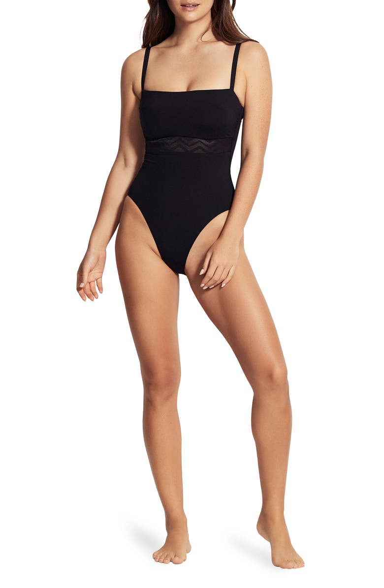 SEAFOLLY Active Zigzag Underwire One-Piece Swimsuit, Main, color, ACTIVE ZIG ZAG BLACK