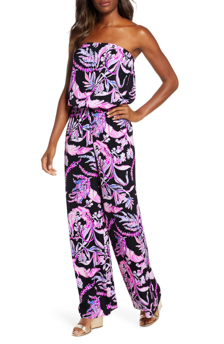 LILLY PULITZER<SUP>®</SUP> Pim Strapless Jumpsuit, Main, color, ONYX WILD WITHIN