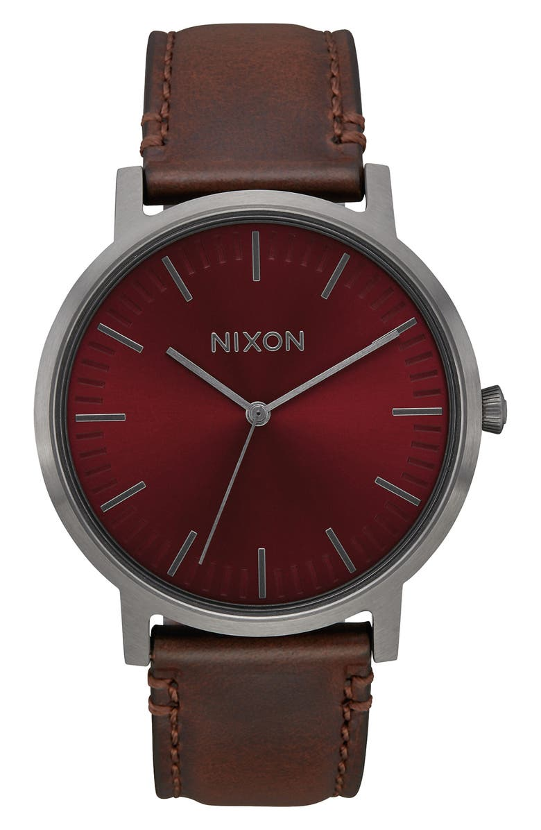 NIXON Porter Leather Strap Watch, 40mm, Main, color, BROWN/ BURGUNDY/ GUNMETAL