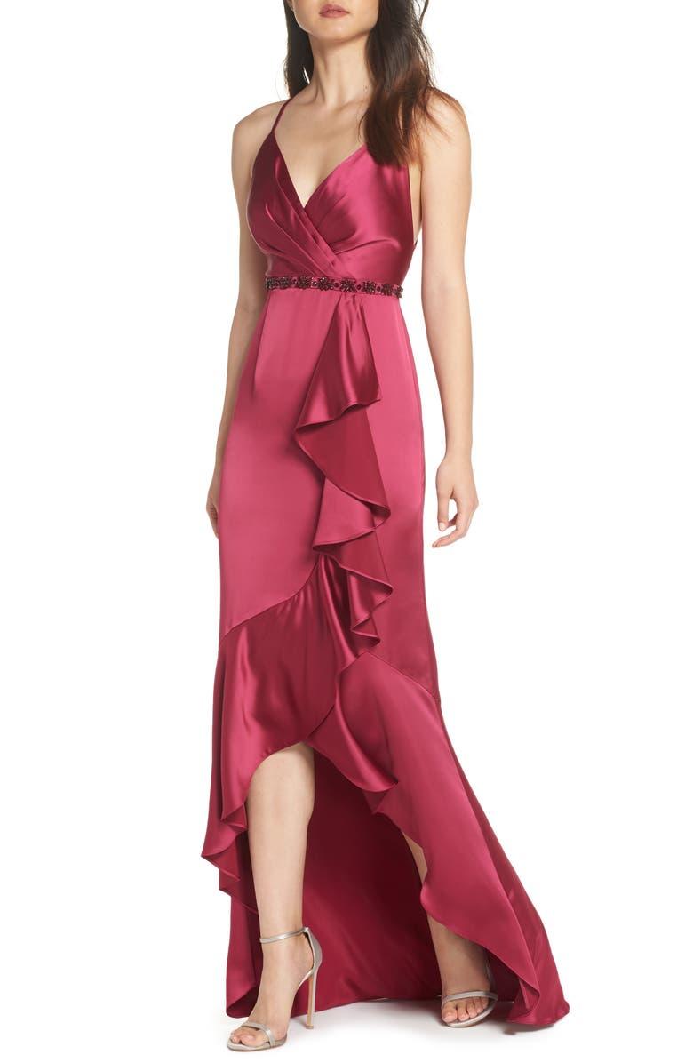 0001a157529 Satin High/Low Faux Wrap Gown