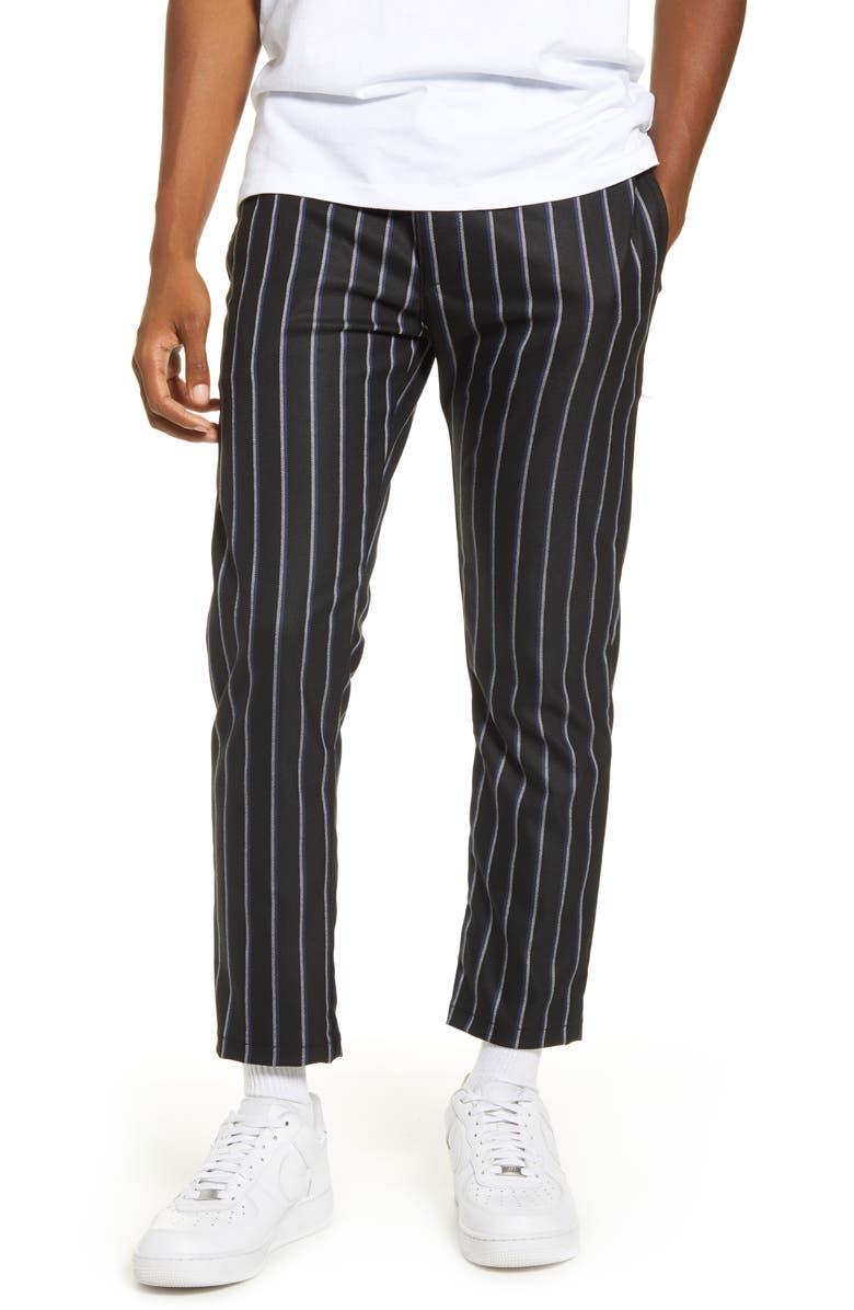 TOPMAN Whyatt Stripe Crop Pants, Main, color, NAVY MULTI