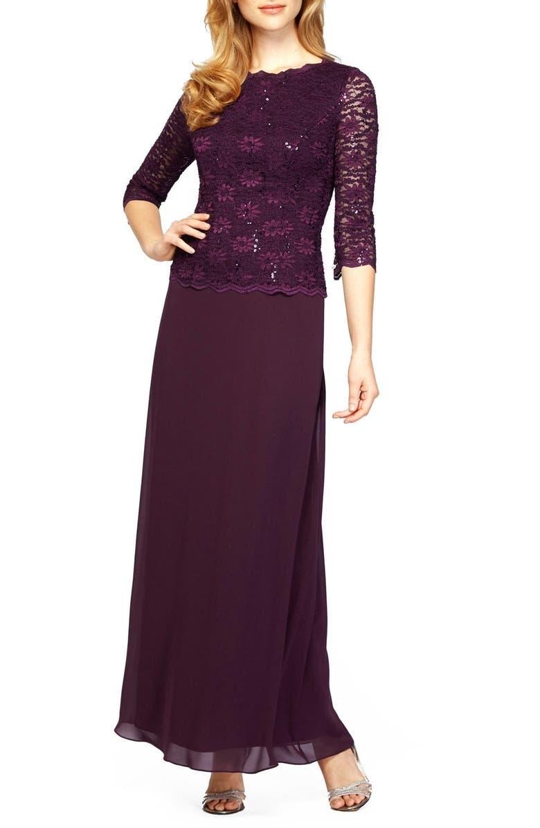 ALEX EVENINGS Sequin Lace & Chiffon Gown, Main, color, DEEP PLUM