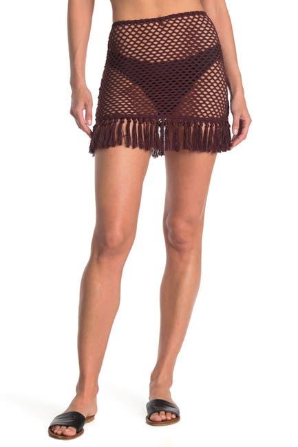 Image of The Bikini Lab Crochet Tassel Hem Cover Up Skirt