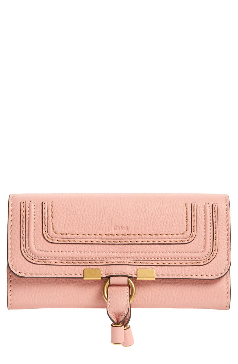 CHLOÉ Marcie Leather Flap Wallet, Main, color, FALLOW PINK