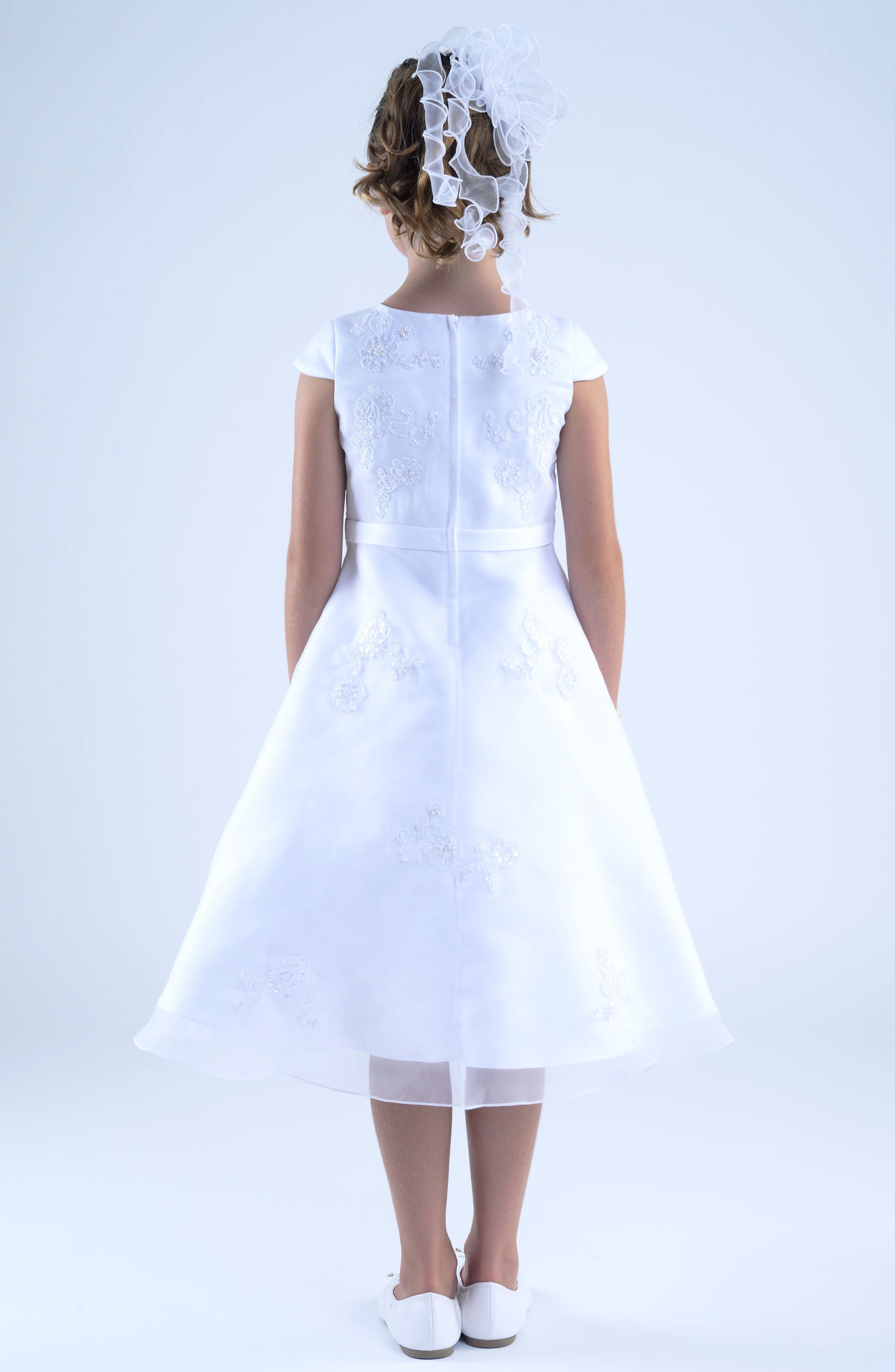 ,                             Embroidered A-Line Dress,                             Alternate thumbnail 4, color,                             WHITE