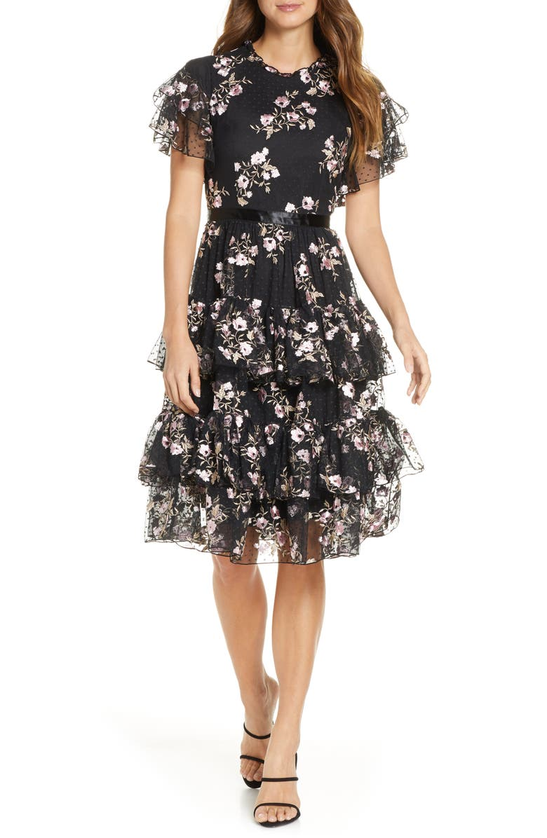 RACHEL PARCELL Embroidered Tiered Mesh Dress, Main, color, 001