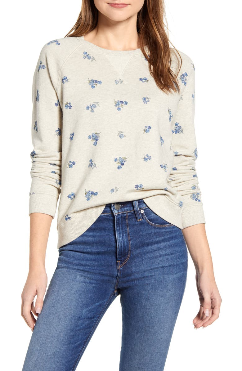 LUCKY BRAND Allover Embroidered Sweatshirt, Main, color, OATMEAL HEATHER