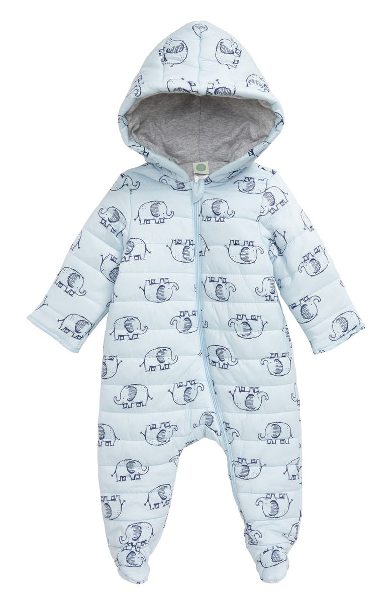 LITTLE ME Elephant Quilted One-Piece Hooded Footie, Main, color, BLUE