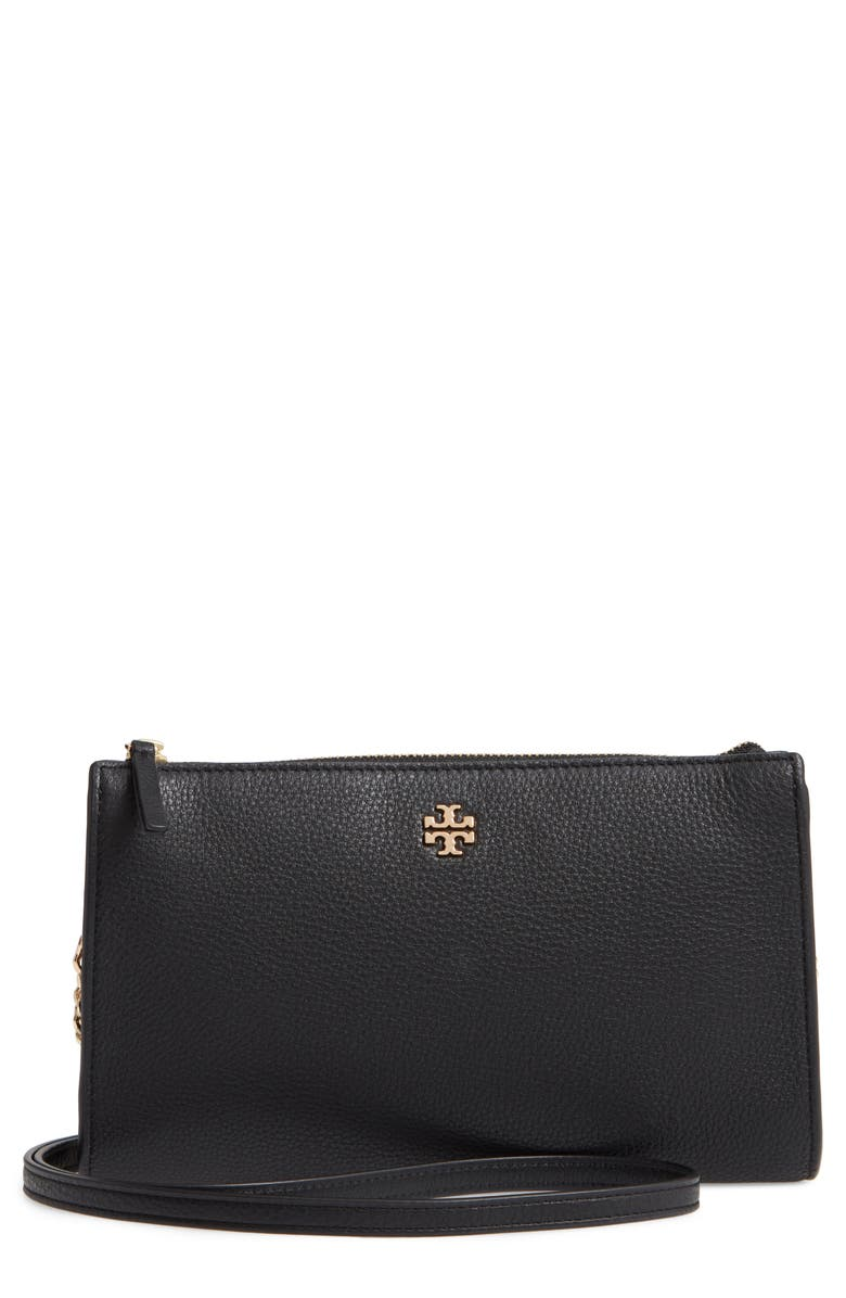 TORY BURCH Pebbled Leather Top Zip Crossbody Bag, Main, color, BLACK
