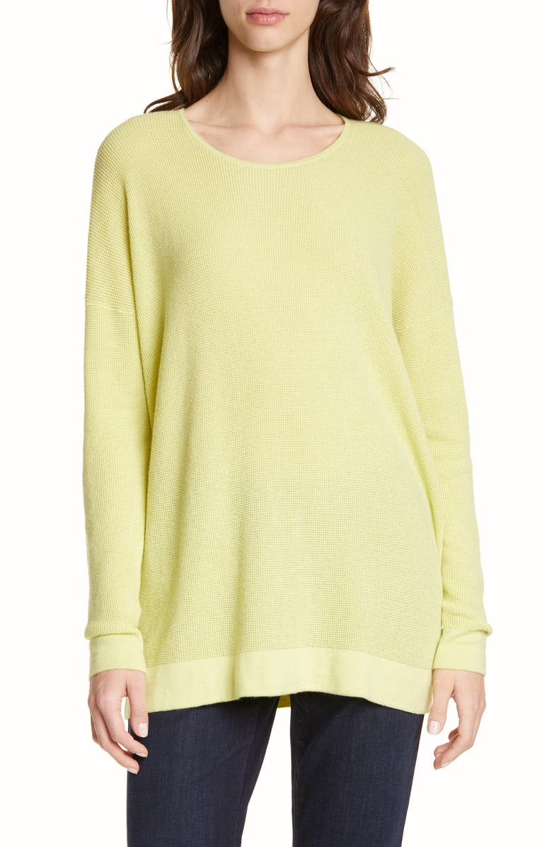 EILEEN FISHER Organic Cotton Blend Thermal Top, Main, color, LEMON ICE
