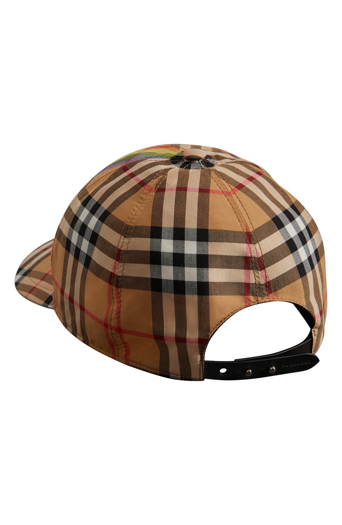a975b220 Burberry Rainbow Stripe Vintage Check Baseball Cap | Nordstrom