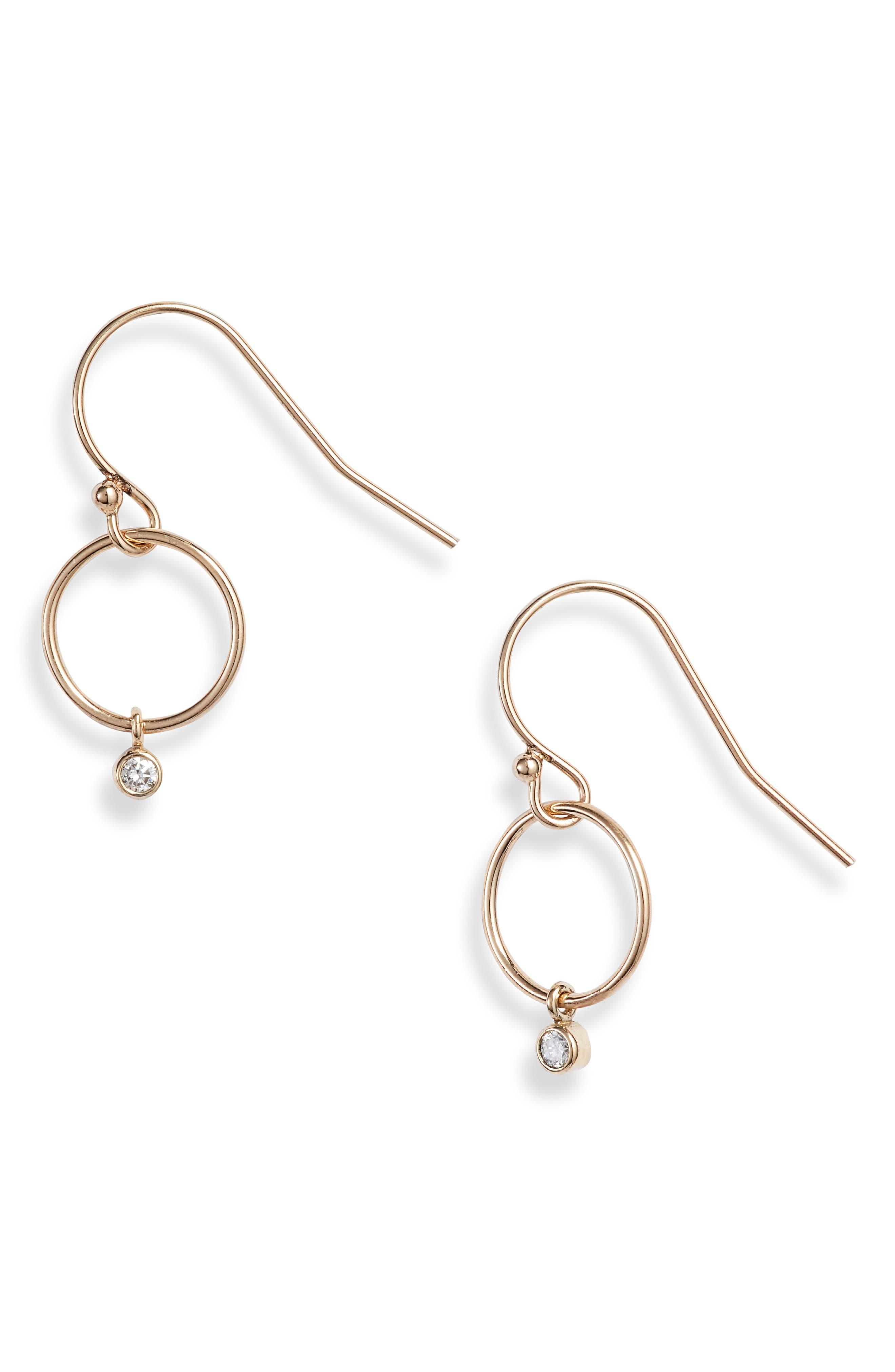 Zoe Chicco Diamond Drop Circle Earrings