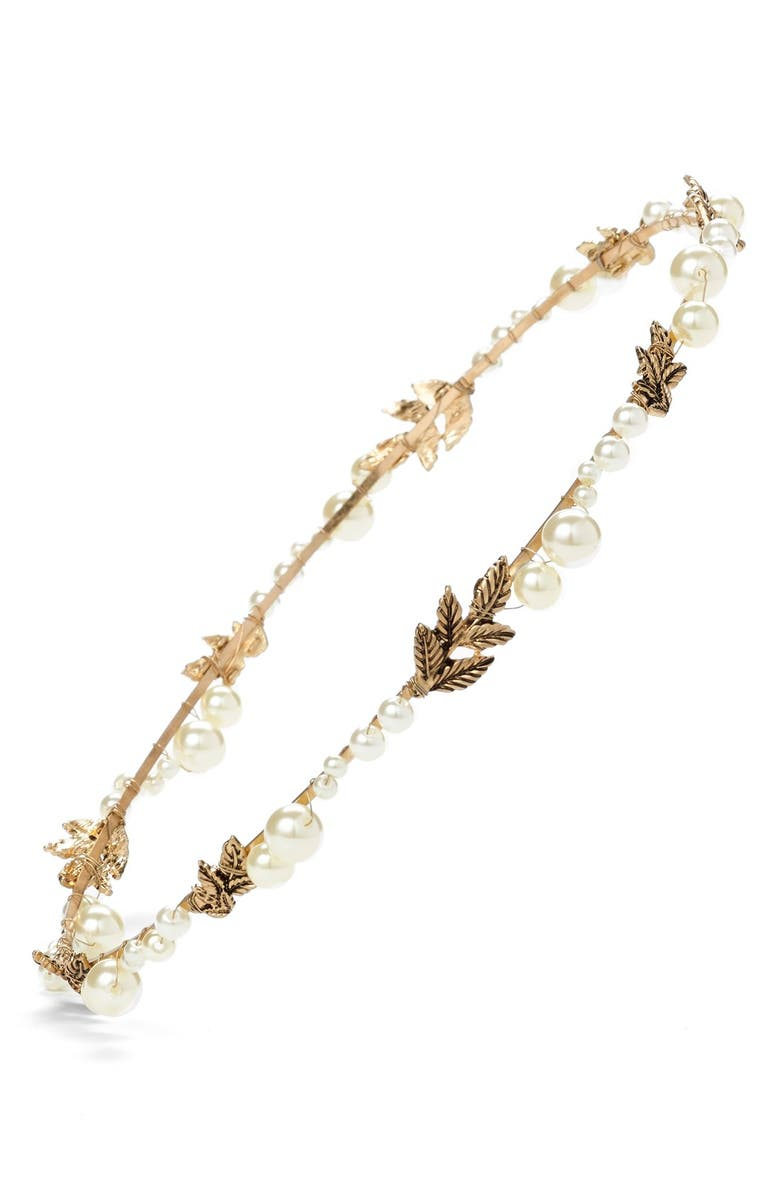 CARA Faux Pearl & Leaf Crown Headband, Main, color, 710