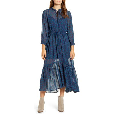 Lucky Brand Ryan Floral Ruffle Hem Georgette Dress, Blue