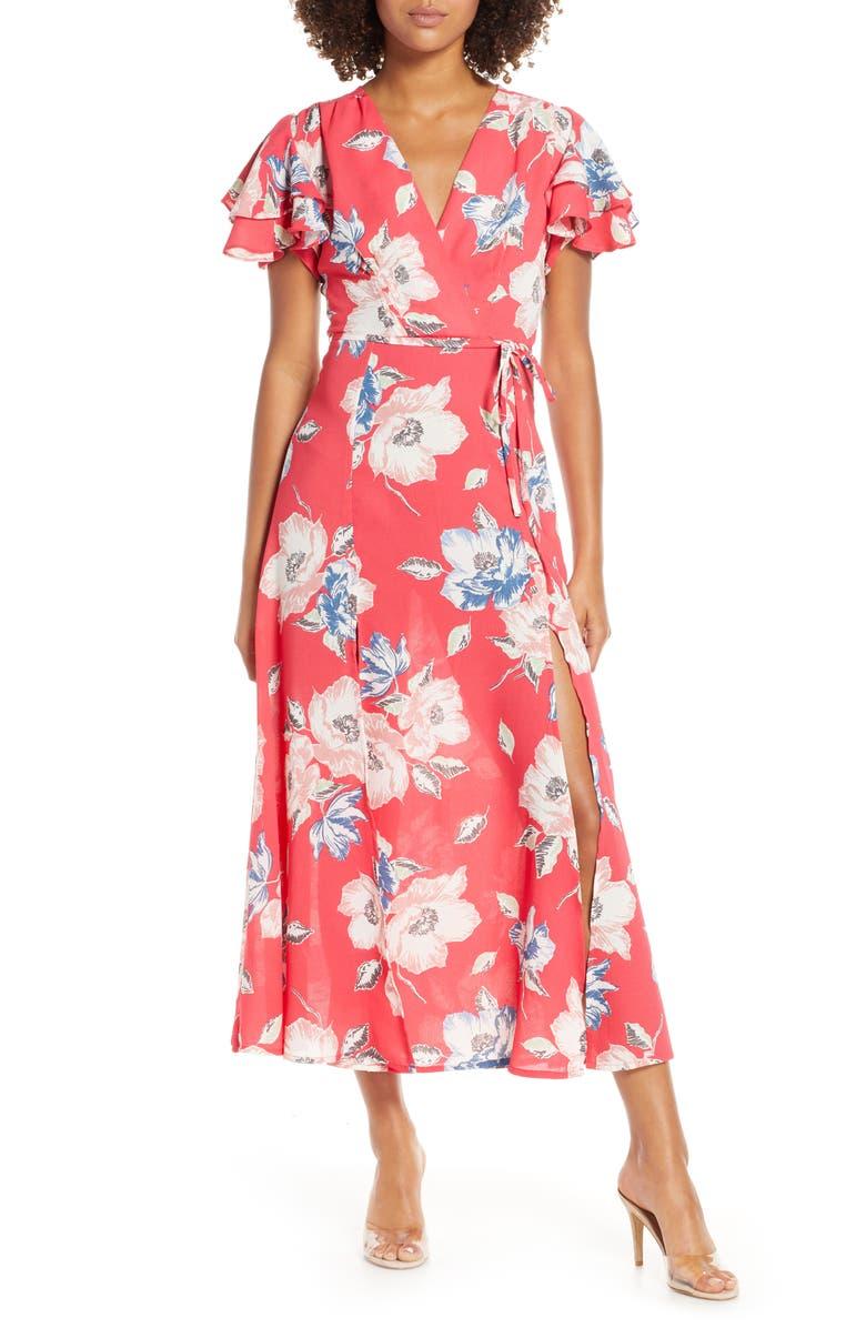 FRENCH CONNECTION Cari Floral Flounce Sleeve Crepe Maxi Dress, Main, color, AZALEA MULTI