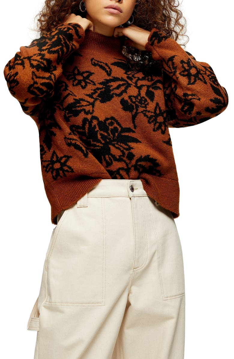 TOPSHOP Floral Jacquard Sweater, Main, color, BROWN MULTI
