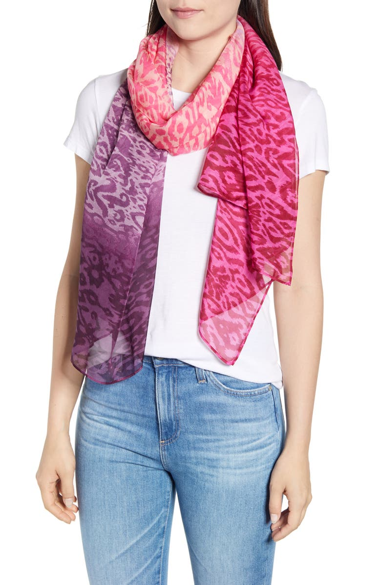 NORDSTROM Silk Chiffon Oblong Scarf, Main, color, PINK SUMMER BATIK PRINT