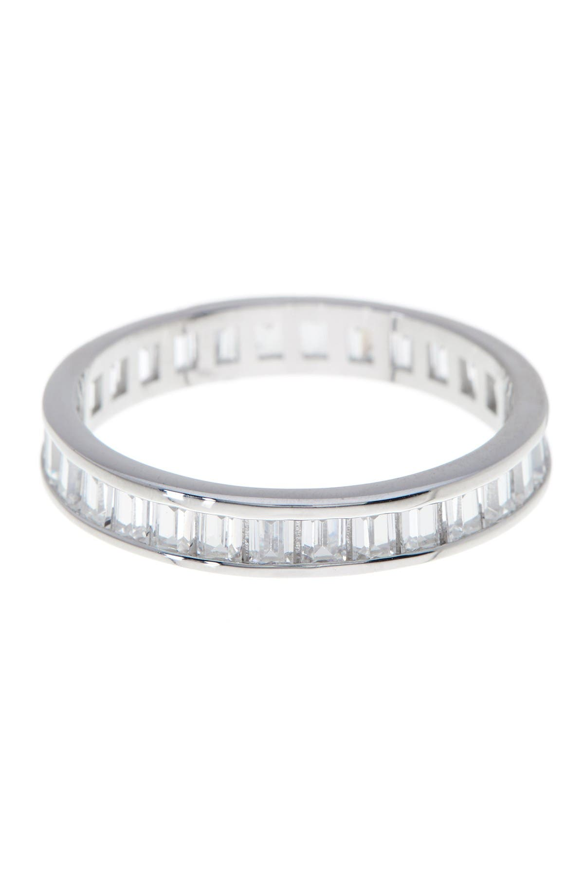 Image of Sterling Forever Stackable Sterling Silver Baguette CZ Band Ring