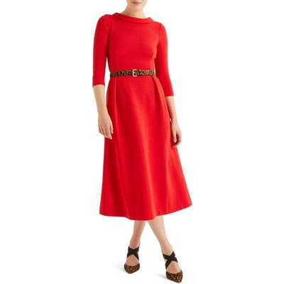 Boden Violet Ottoman Ribbed Midi Dress, Red