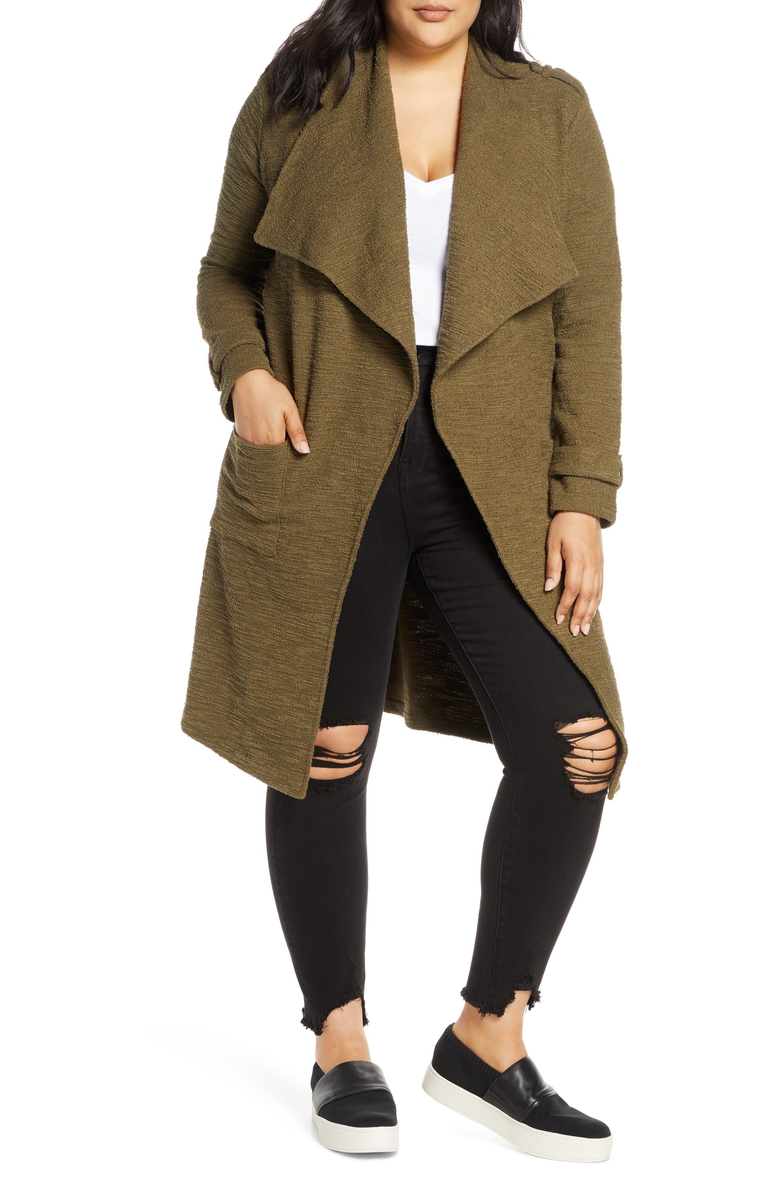 BB Dakota Revolution Drapey Bouclé Trench Coat (Plus Size)