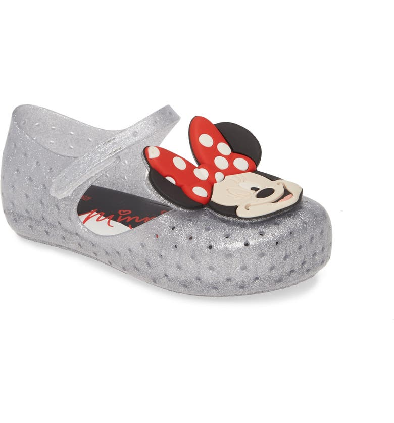MINI MELISSA x Disney Furadinha Minnie Mouse Mary Jane Flat, Main, color, SILVER