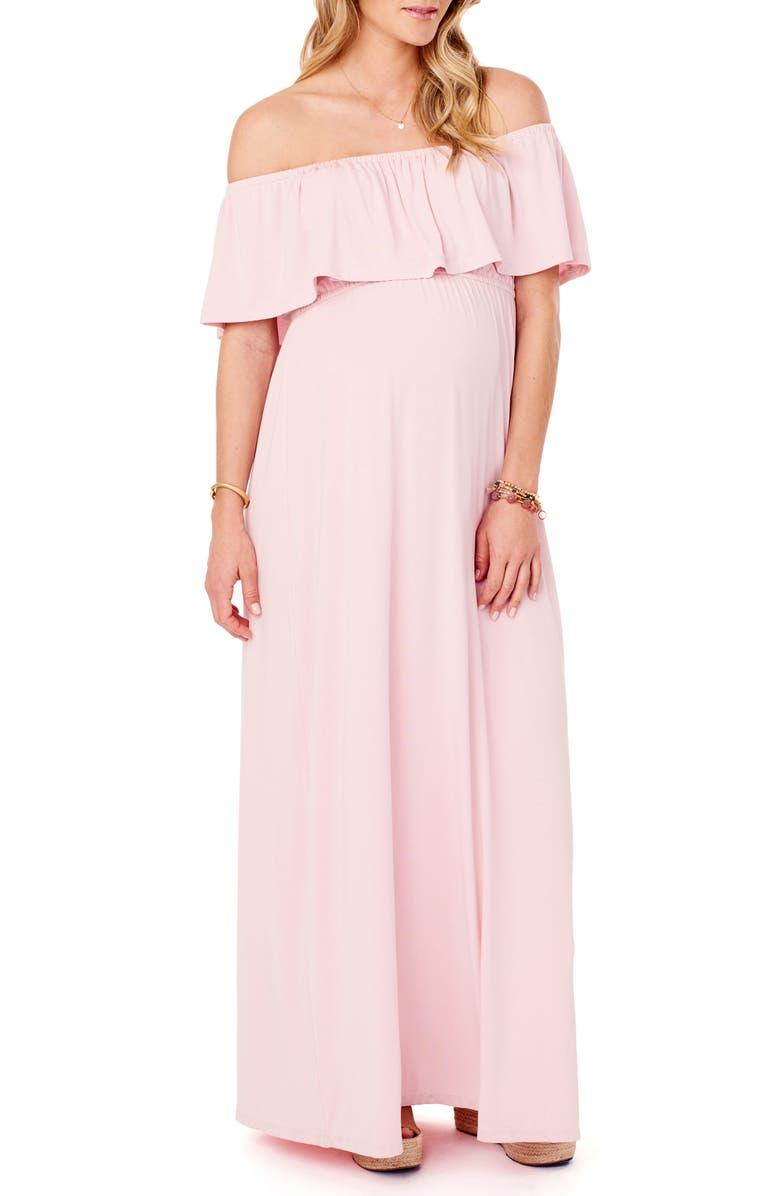 INGRID & ISABEL<SUP>®</SUP> Off the Shoulder Maternity Maxi Dress, Main, color, BLUSH