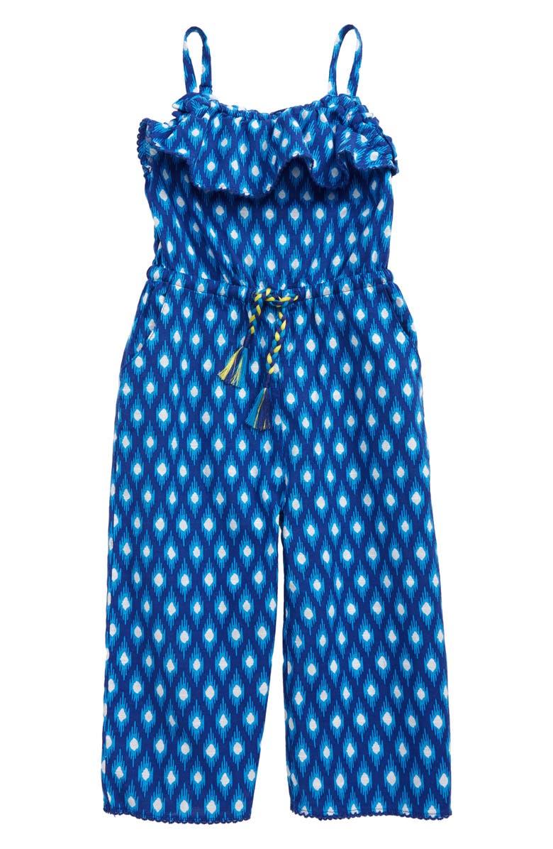 MINI BODEN Print Tie Waist Culotte Jumpsuit, Main, color, BLU BLUE WAVE IKAT