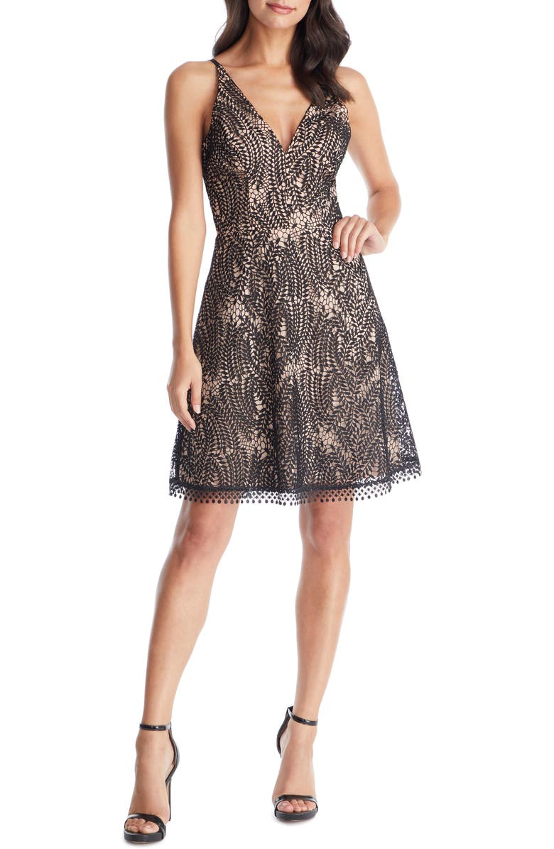 DRESS THE POPULATION Piper Crochet Lace Cocktail Dress, Main, color, 001